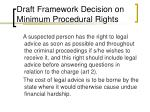draft framework decision on minimum procedural rights