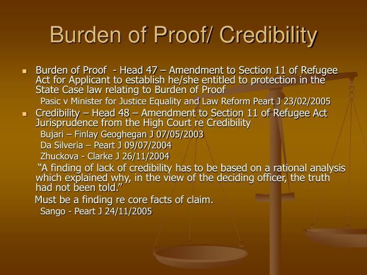 Burden of Proof/ Credibility