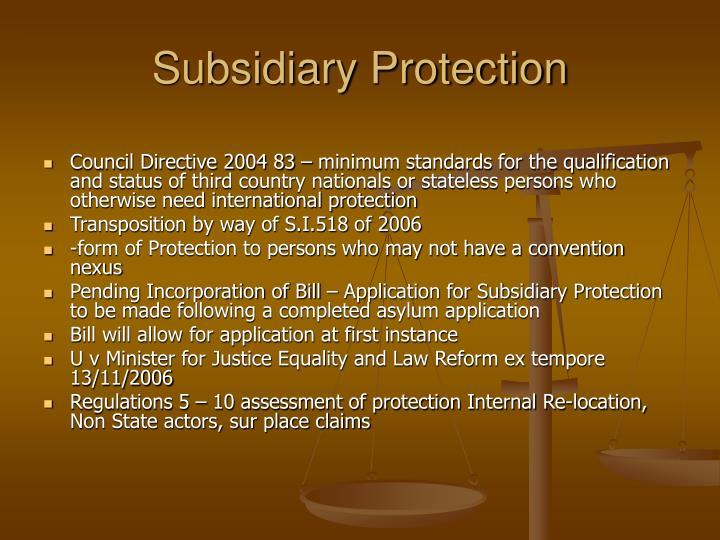 Subsidiary Protection