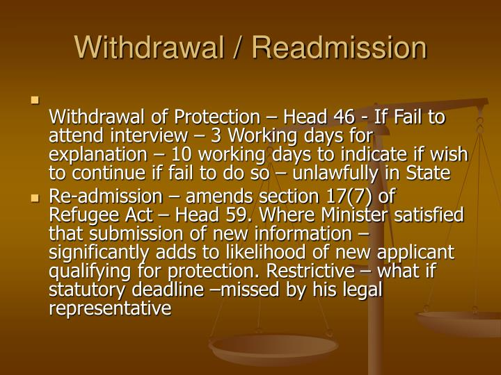 Withdrawal / Readmission