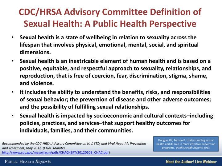 CDC/HRSA Advisory Committee Definition of Sexual Health: A Public Health Perspective