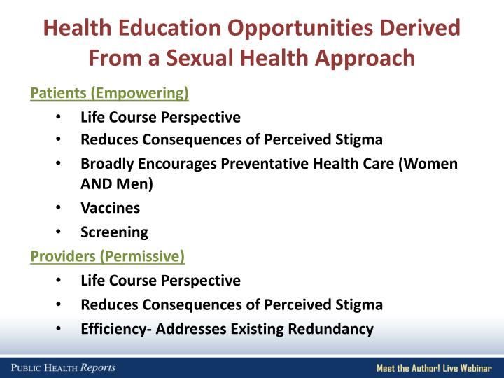 Health Education Opportunities Derived From a Sexual Health Approach