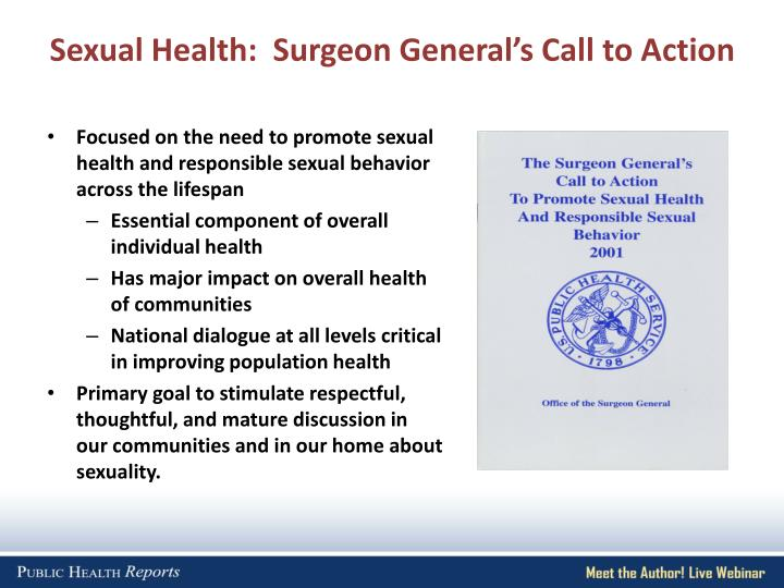 Sexual Health:  Surgeon General's Call to Action