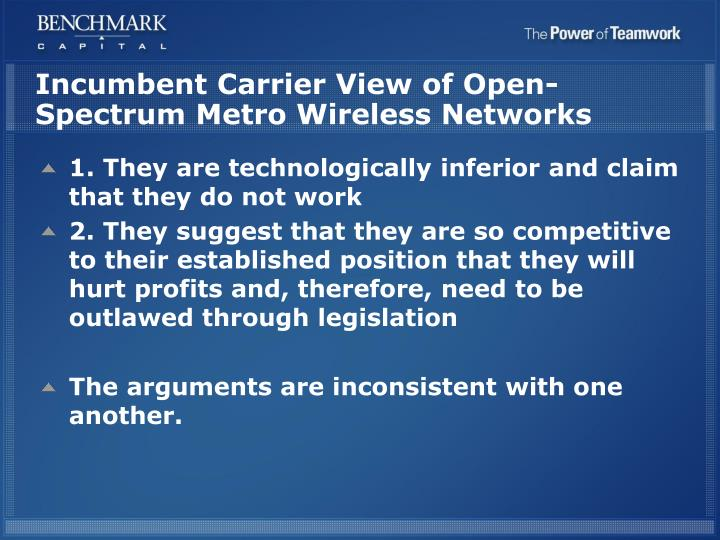 Incumbent Carrier View of Open-Spectrum Metro Wireless Networks