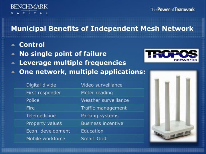 Municipal Benefits of Independent Mesh Network