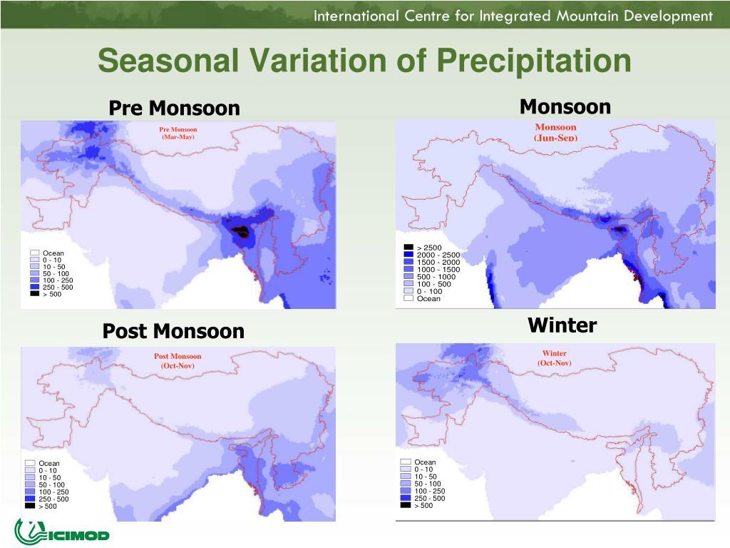 Seasonal Variation of Precipitation