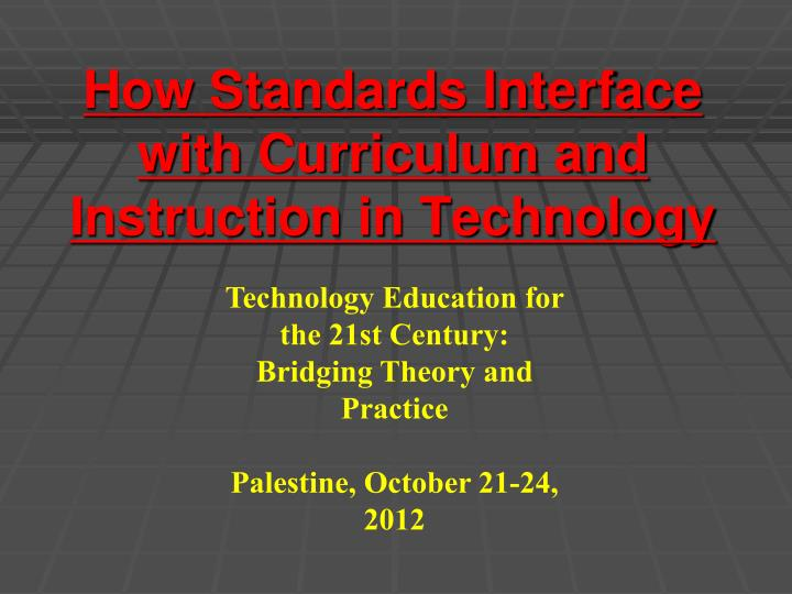 How standards interface with curriculum and instruction in technology