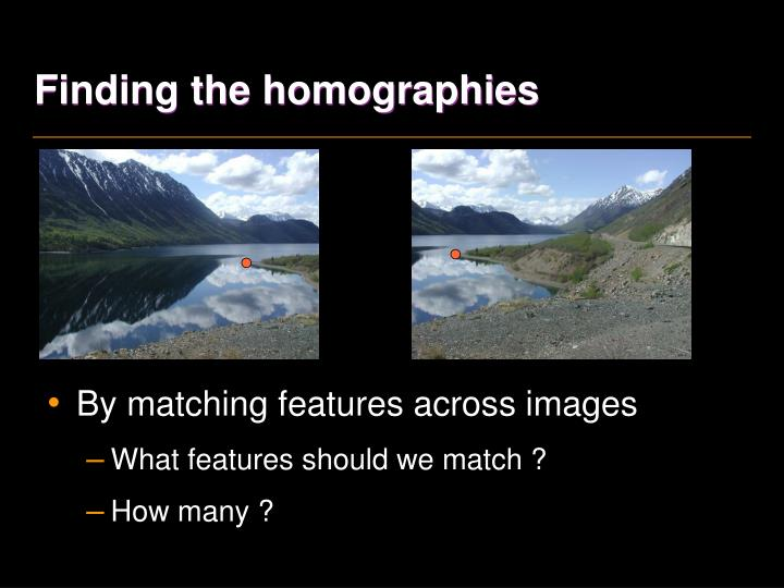 Finding the homographies