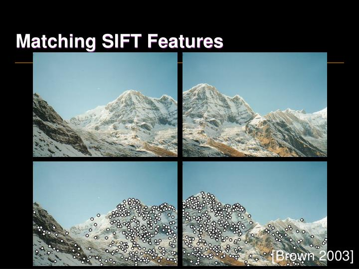 Matching SIFT Features