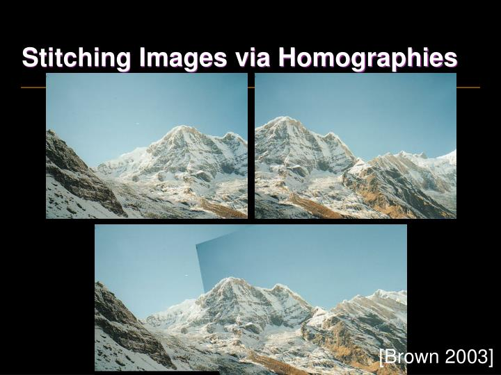 Stitching Images via Homographies