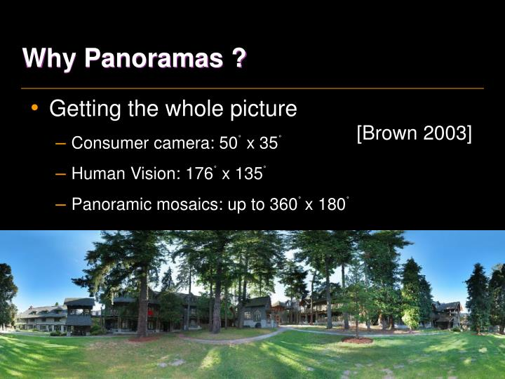 Why Panoramas ?