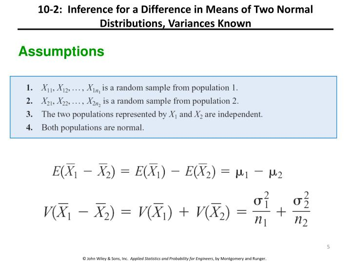 10-2:  Inference for a Difference in Means of Two Normal Distributions, Variances Known