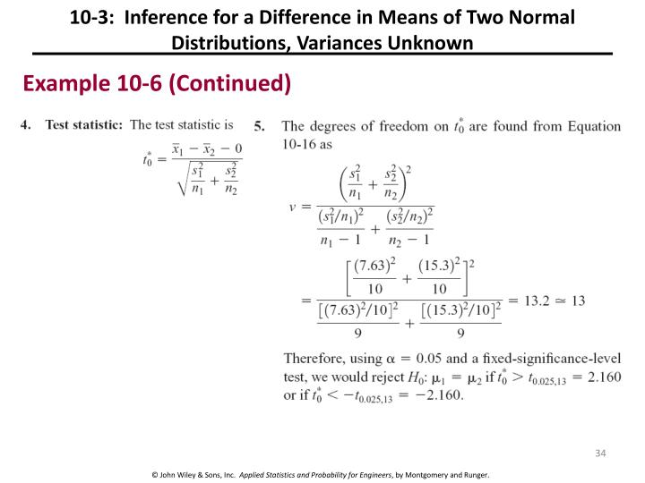 10-3:  Inference for a Difference in Means of Two Normal Distributions, Variances Unknown