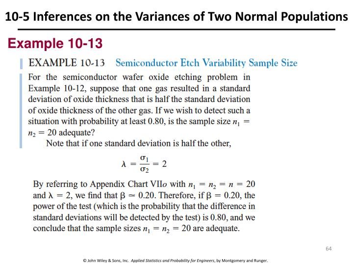 10-5 Inferences on the Variances of Two Normal Populations