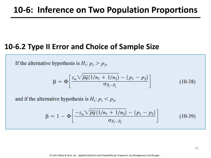 10-6:  Inference on Two Population Proportions