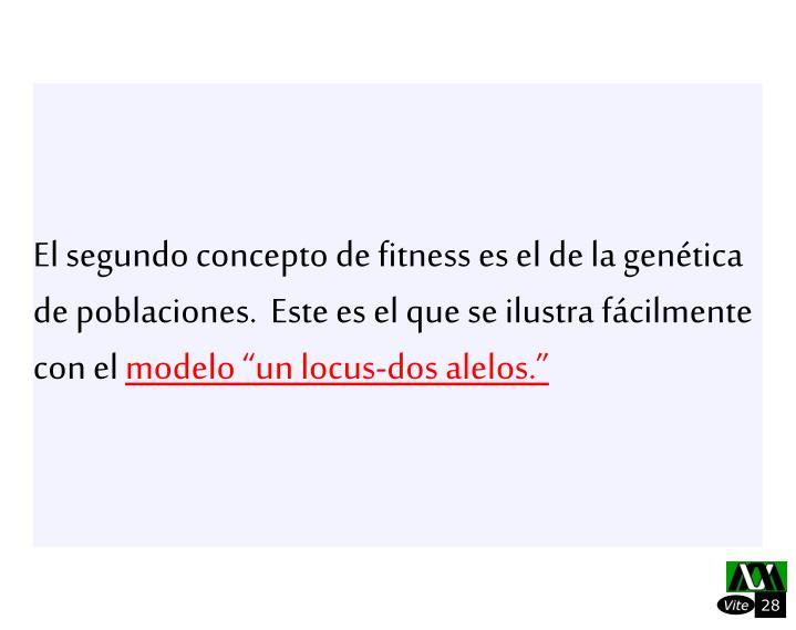 El segundo concepto de fitness es el de la gentica de poblaciones.  Este es el que se ilustra fcilmente con el