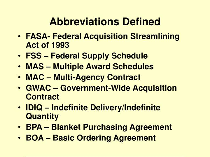 FASA- Federal Acquisition Streamlining Act of 1993