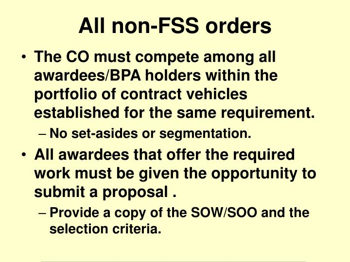 The CO must compete among all awardees/BPA holders within the portfolio of contract vehicles established for the same requirement.