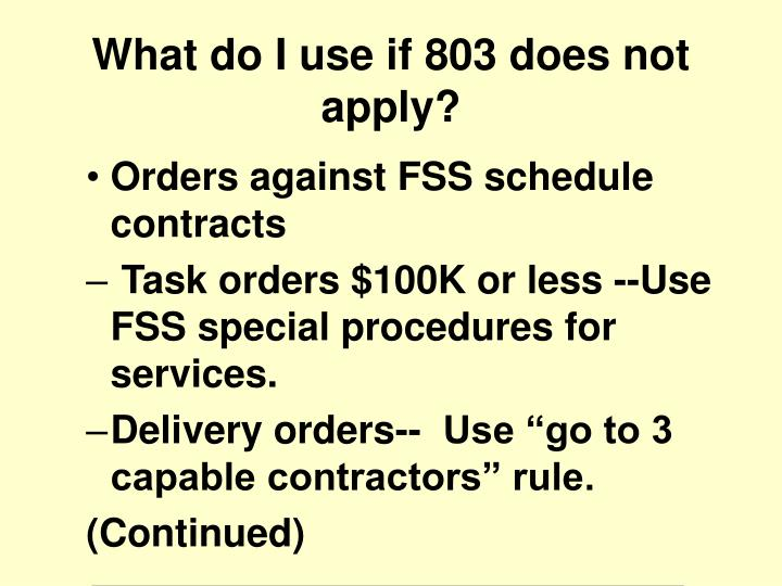 Orders against FSS schedule contracts