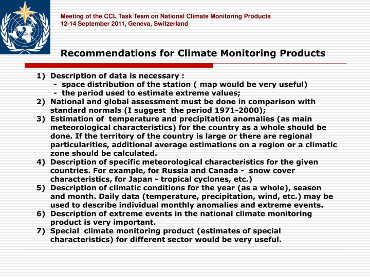 Meeting of the CCL Task Team on National Climate Monitoring Products