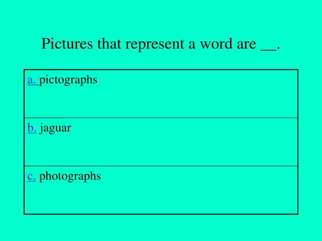 Pictures that represent a word are __.