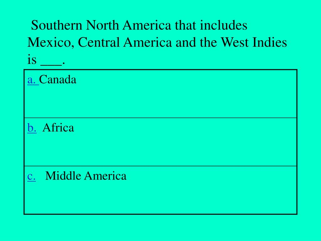Southern North America that includes Mexico, Central America and the West Indies is ___.