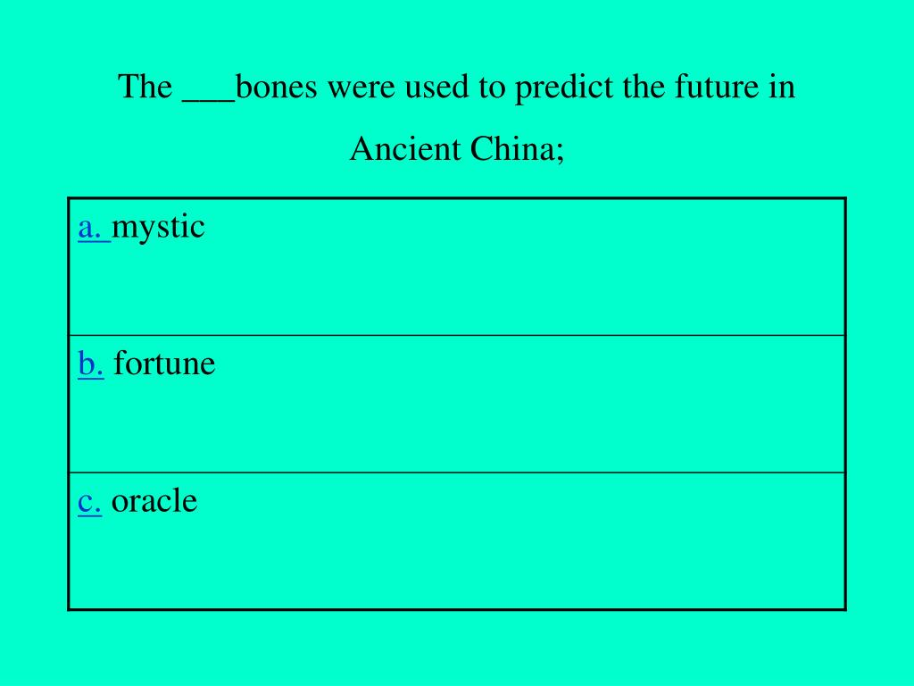 The ___bones were used to predict the future in Ancient China;