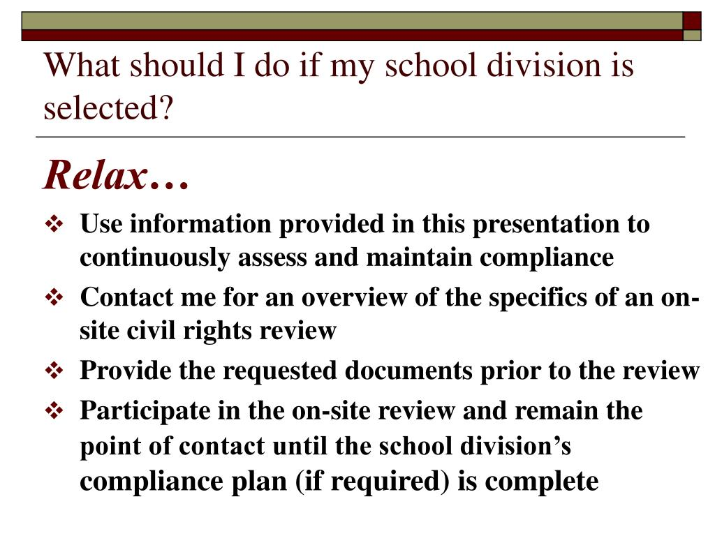 What should I do if my school division is selected?