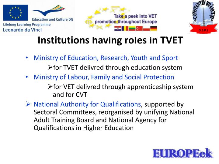 Institutions having roles in TVET