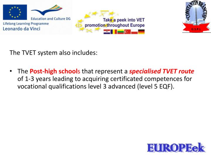 The TVET system also includes: