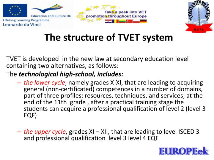 The structure of TVET system