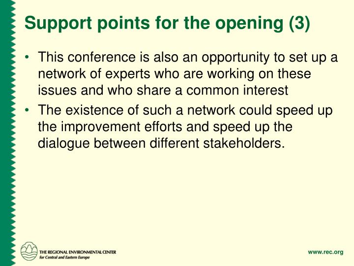 Support points for the opening (3)