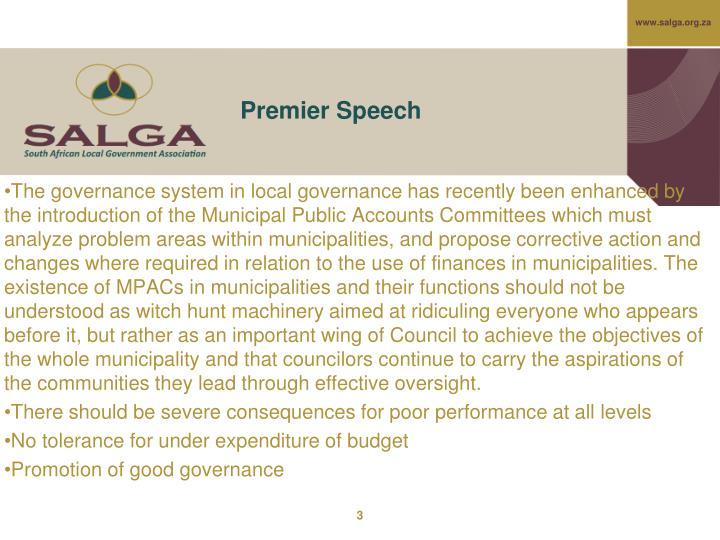 Premier Speech