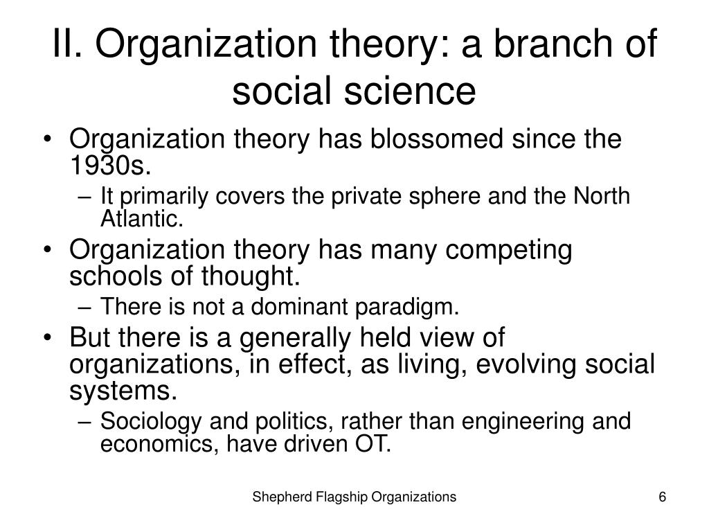 II. Organization theory: a branch of social science