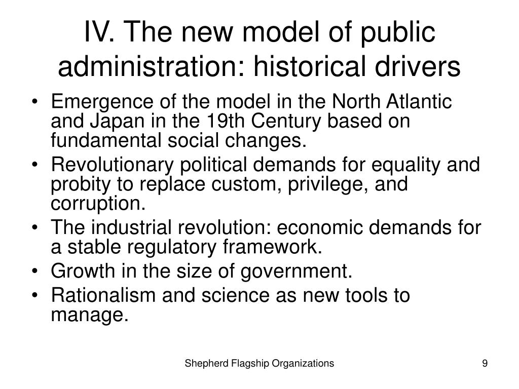 IV. The new model of public administration: historical drivers