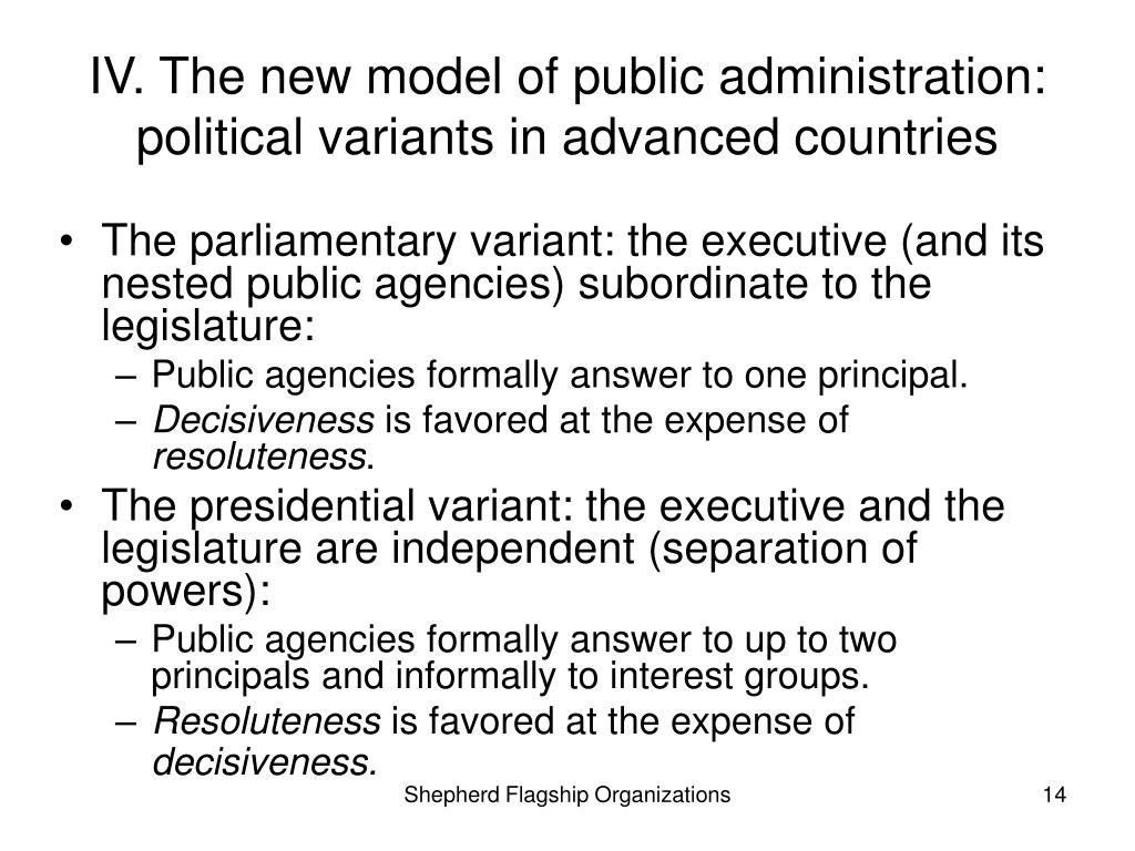 IV. The new model of public administration: political variants in advanced countries
