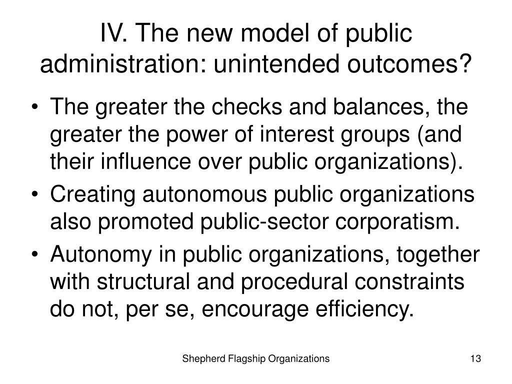 IV. The new model of public administration: unintended outcomes?