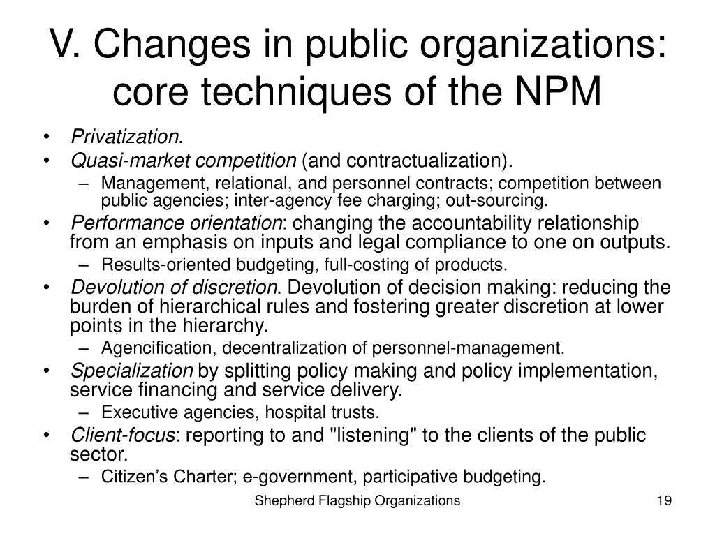 V. Changes in public organizations: core techniques of the NPM