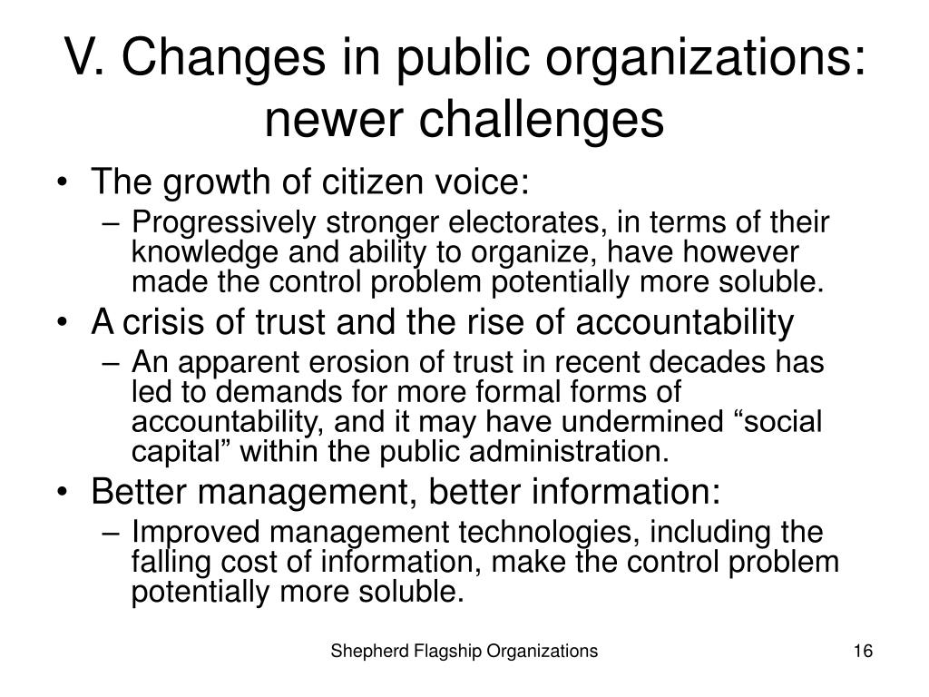 V. Changes in public organizations:  newer challenges