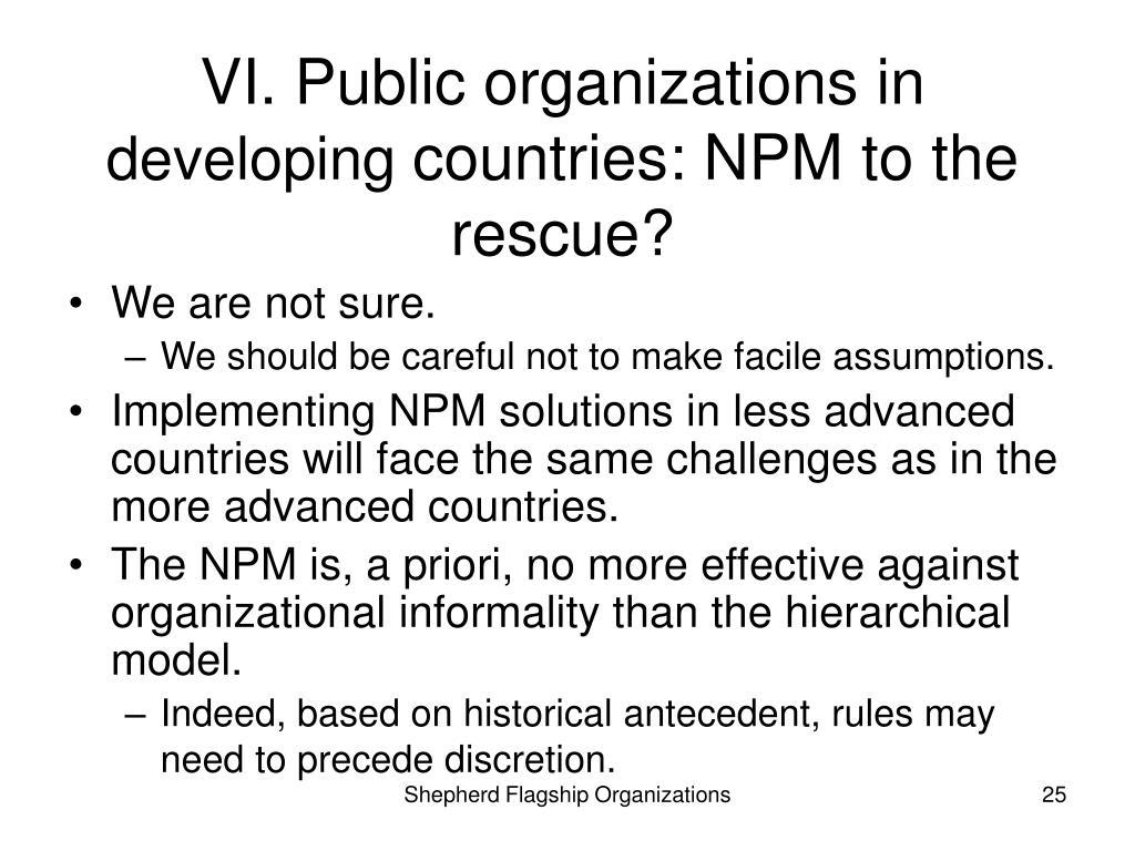 VI. Public organizations in