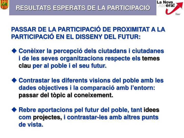RESULTATS ESPERATS DE LA PARTICIPACIÓ