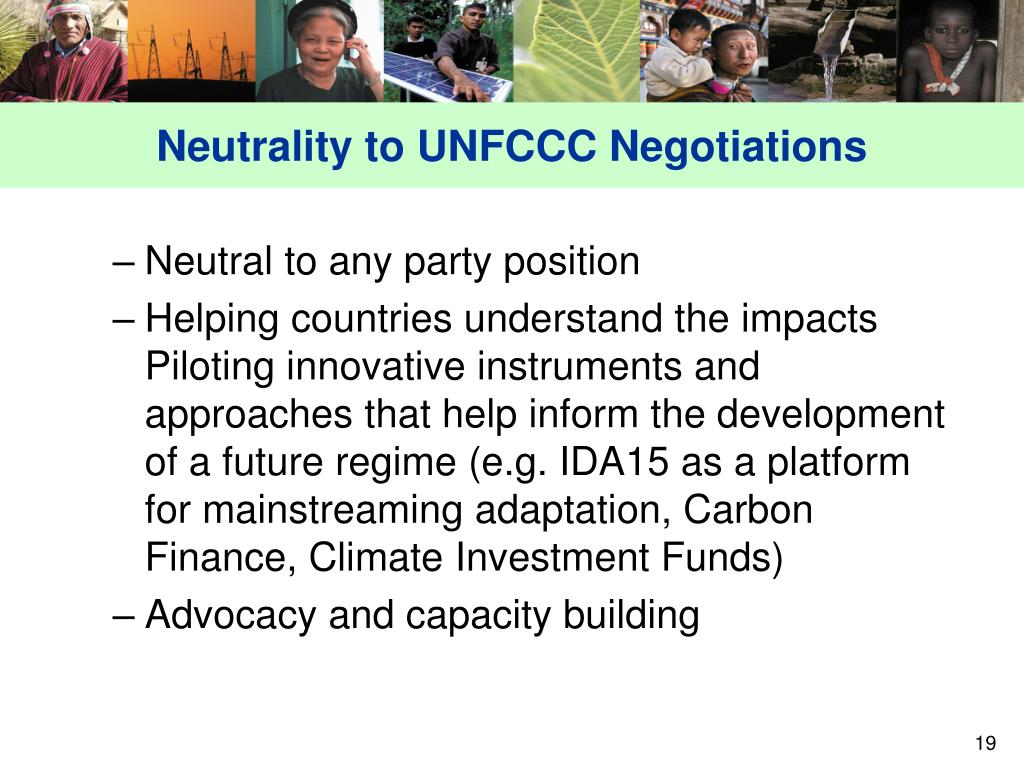Neutrality to UNFCCC Negotiations