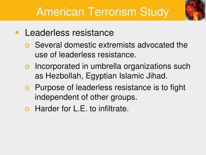 American Terrorism Study: Patterns of Behavior ...