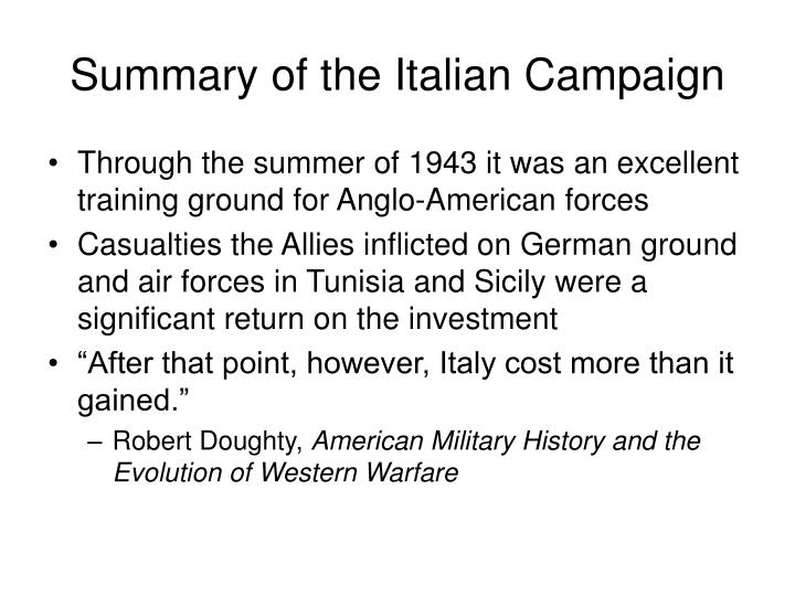 Summary of the Italian Campaign
