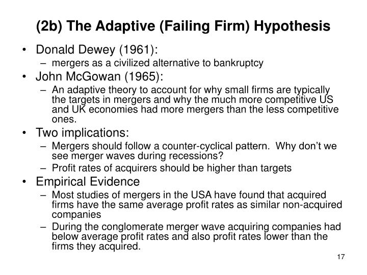 (2b) The Adaptive (Failing Firm) Hypothesis