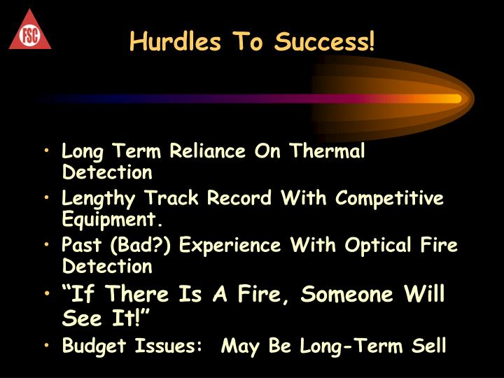 Hurdles To Success!
