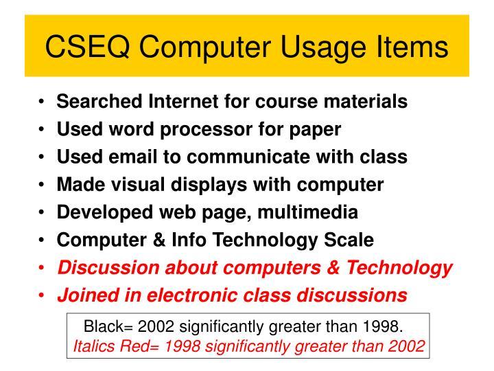 CSEQ Computer Usage Items