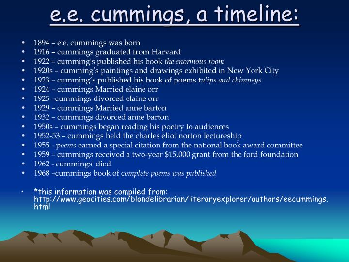 e.e. cummings, a timeline: