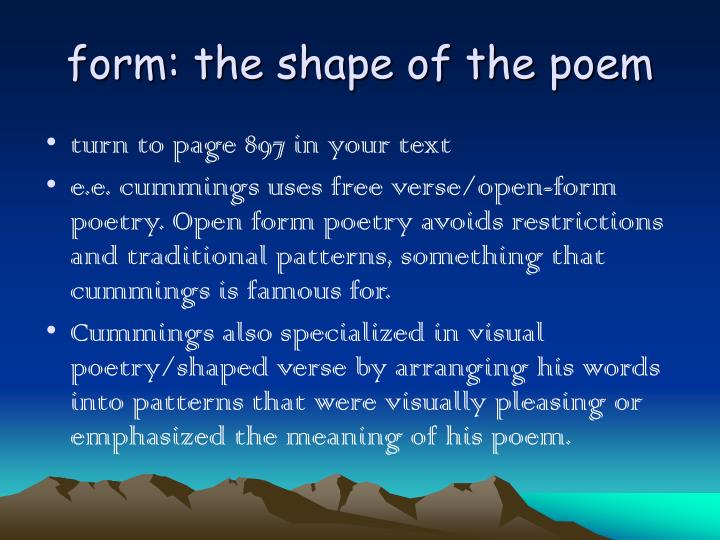 form: the shape of the poem