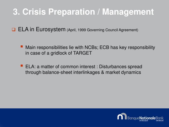 3. Crisis Preparation / Management